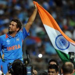 8 Sachin Tendulkar waves the India flag in triumph, India v Sri Lanka, final, World Cup 2011, Mumbai, April 2, 2011