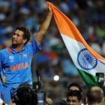 8 Sachin Tendulkar waves the India flag in triumph, India v Sri Lanka, final, World Cup 2011, Mumbai, April 2, 2011